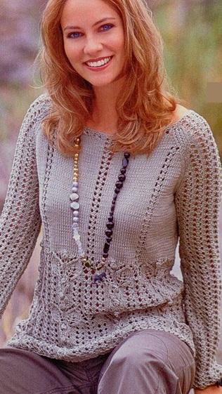 Схема ажурного пуловера